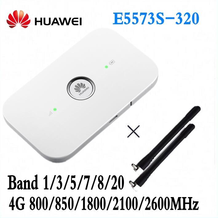 Débloqué Huawei E5573 E5573s-320 Cat4 150 mbps Mobile Sans Fil Mifi Routeur Wifi + 2 pièces antenne pK MF90 R215 E5577