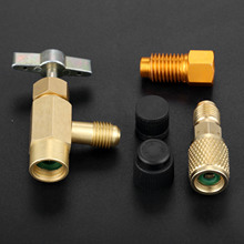 5Pcs R1234yf Refrigerant Can Tap 1/2 ACME LH Female 1/4 SAE Male AC Bottle Opener Valve Tool