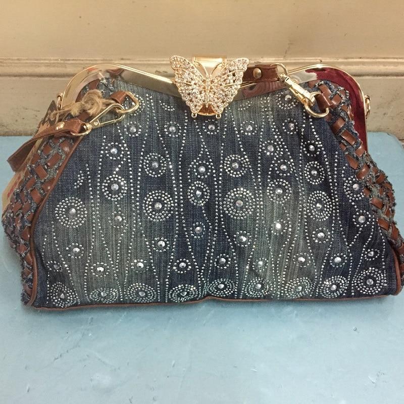 Vintage Women Shoulder Bag Denim Jeans HandBags Frame Butterfly Shine Rhinestone Evening Bag Totes Female Purse Messenger
