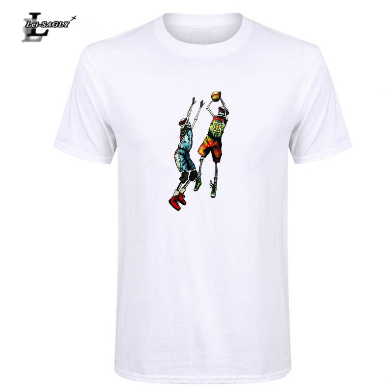 Lei-SAGLY Mens Summer Hot Sale Vogue Skulls Funny Design Graphic Printed Mens Short Sleeve Casual Fashion T-Shirt Free Shipping