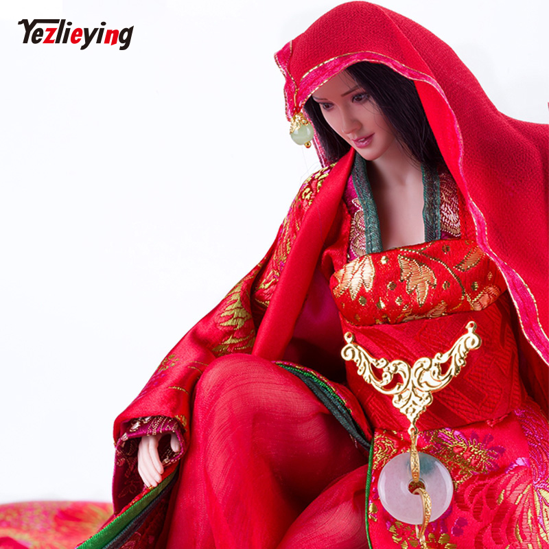 1/6 Ancient Female Chinese Dress Skirt Suit Bride Wedding Clothing Bride dowry red lady Fit 12 Inch Phicen Action Figure Body