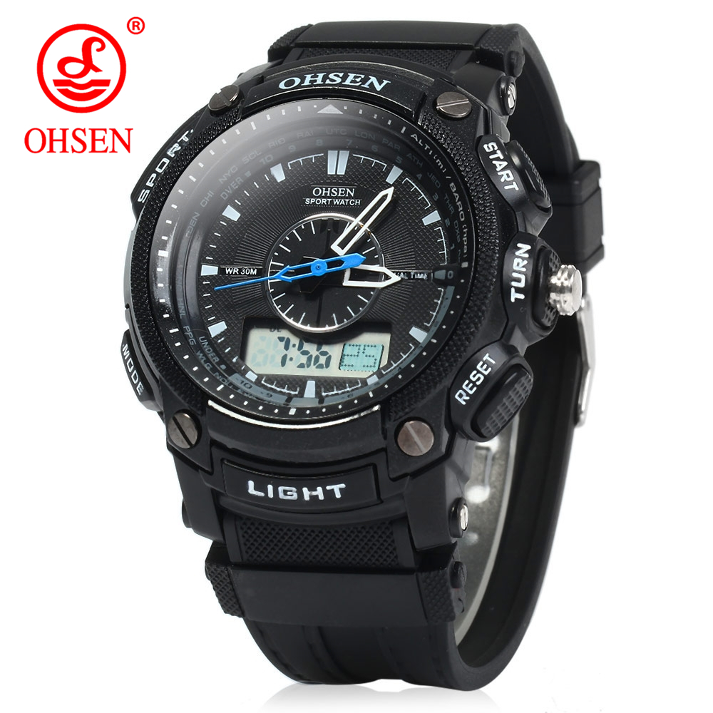 2017 Fashion Brand Ohsen Quartz Men Sports Military Watches Casual Wristwatches Date Week Alarm Stopwatch Men's Watch Gift Reloj ohsen ad1309 dual time sports men digital watch with date week alarm stopwatch backlight separate second dial