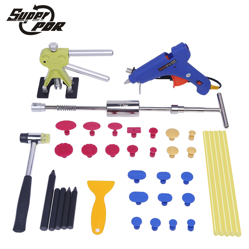 PDR tool kit car dent removal tools slide hammer dent puller glue gun rubber hammer hand tool set for Paintless car dent repair watch repair tool kit watch tools 9 5cm 4 5cm pins puller watchmaker tools watch hand remover tool parts accessories