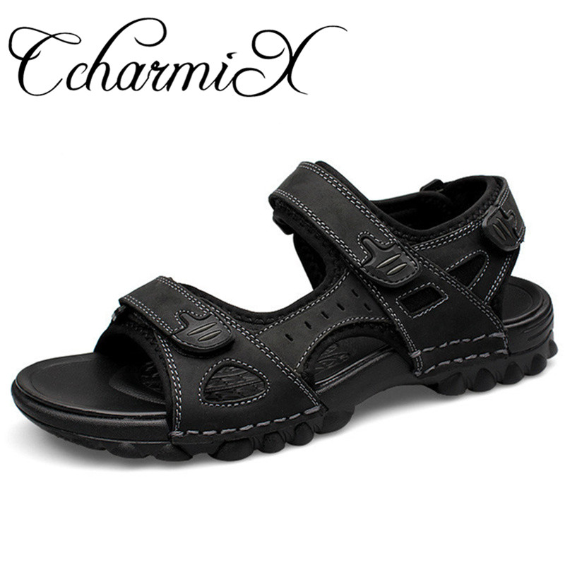 CcharmiX גדול גודל 48 Mens סנדלי עור אמיתי קיץ חוף שמלת Mens אופנה סנדלי חיצוני גברים נעלי שחור אור סנדלי