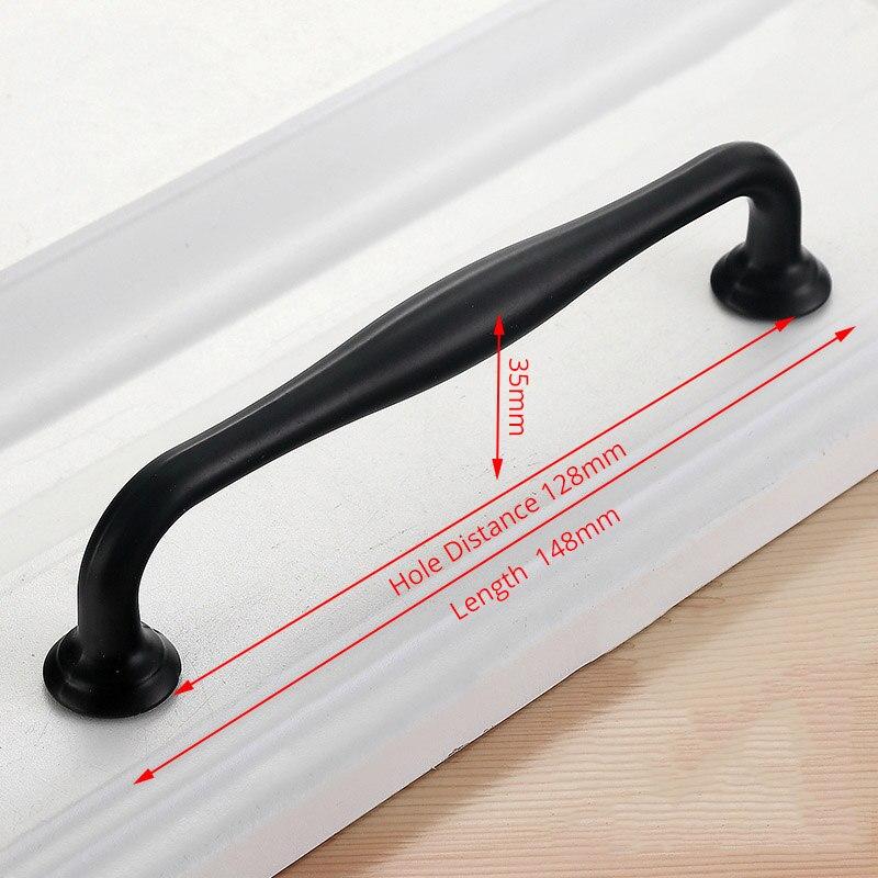 KAK американский стиль черный шкаф ручки цельный алюминиевый сплав кухонный шкаф ручки для выдвижных ящиков оборудование для обработки мебели - Цвет: Handle-6660C-128
