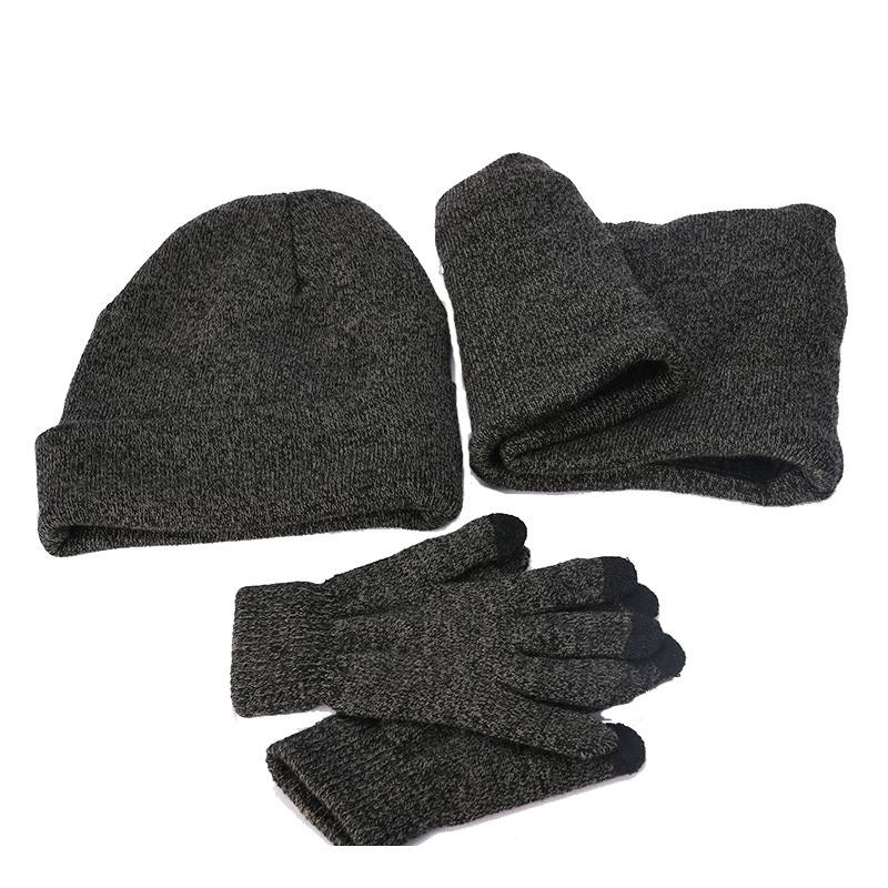 Елезов 3 шт./компл. плюшевые, вязаная шапка бини с наушниками, Сенсорный экран перчатки и шарф-воротник Для мужчин теплые зимние водительские перчатки Череп снежные шапки Новые