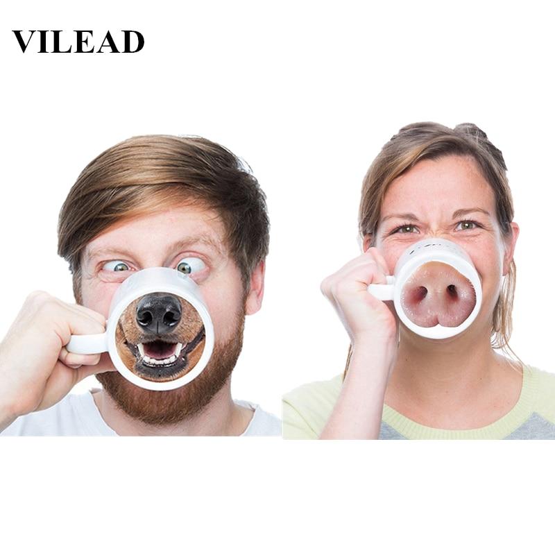 VILEAD Cerámica Creativa Soy Perro Taza de Nariz de Cerdo Animal Divertido Taza de Café La Novedad Tiene Un Buen Día Dedo Medio Taza Linda Tazas de Té 3D