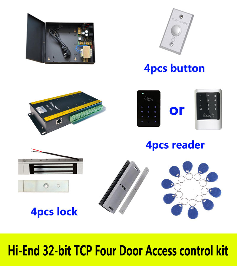 Genteel Hi-end Access Control Kit,tcp Four Door+power+180kg Magnetic Lock+u-bracket+id Touch Keypad Reader+button+10 Id Tag,sn:kit-at404 Fast Color Access Control Access Control Kits