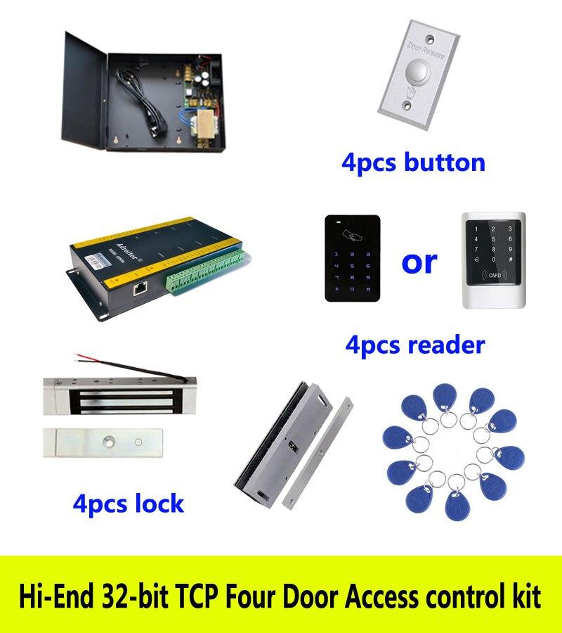 Hi-end kit di controllo accessi, TCP quattro porte + potere + 180 kg serratura magnetica + U-staffa + ID tastiera di tocco reader + button + 10 ID tag, sn: kit-AT404Hi-end kit di controllo accessi, TCP quattro porte + potere + 180 kg serratura magnetica + U-staffa + ID tastiera di tocco reader + button + 10 ID tag, sn: kit-AT404