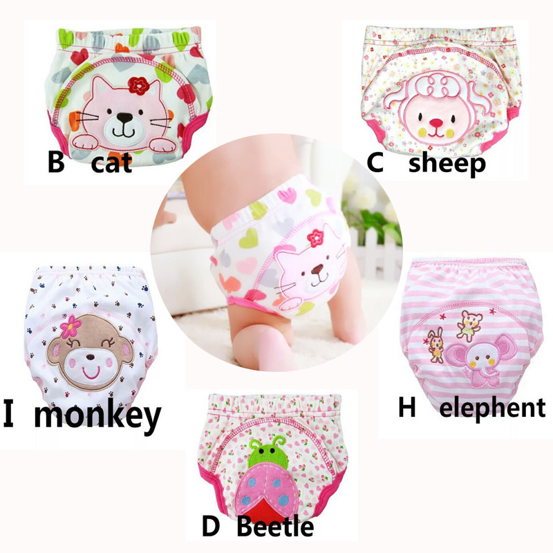 5Pcs Baby Training Pants Cotton Reusable Baby Diapers Waterproof Cloth Nappies Washable Diapers Bamboo Learning Pants80/90/100