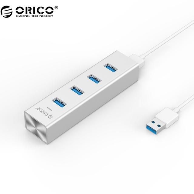 ORICO H4013-U3-SV Aluminio USB3.0 4 Puertos Hub para Tu Portátil Mac-Plata