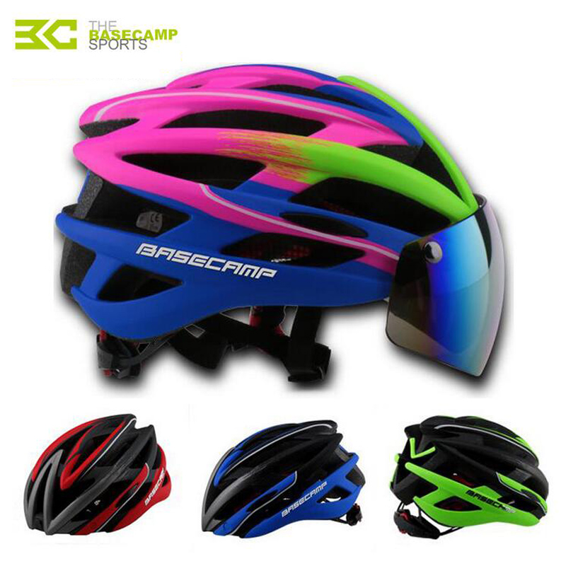 BASECAMP Bicycle Helmets Sunglasses Cycling Glasses Helmet 3 Lens Integrally Molded Men Women Mountain Road Bike Helmets H5102 topeak outdoor sports cycling photochromic sun glasses bicycle sunglasses mtb nxt lenses glasses eyewear goggles 3 colors