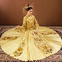 Top Quality Chinese Royal Lady Marriage Qipao Rhinestone Embroidery Cheongsam Suit Dragon&Phoenix Vintage Bride Dress Vestidos