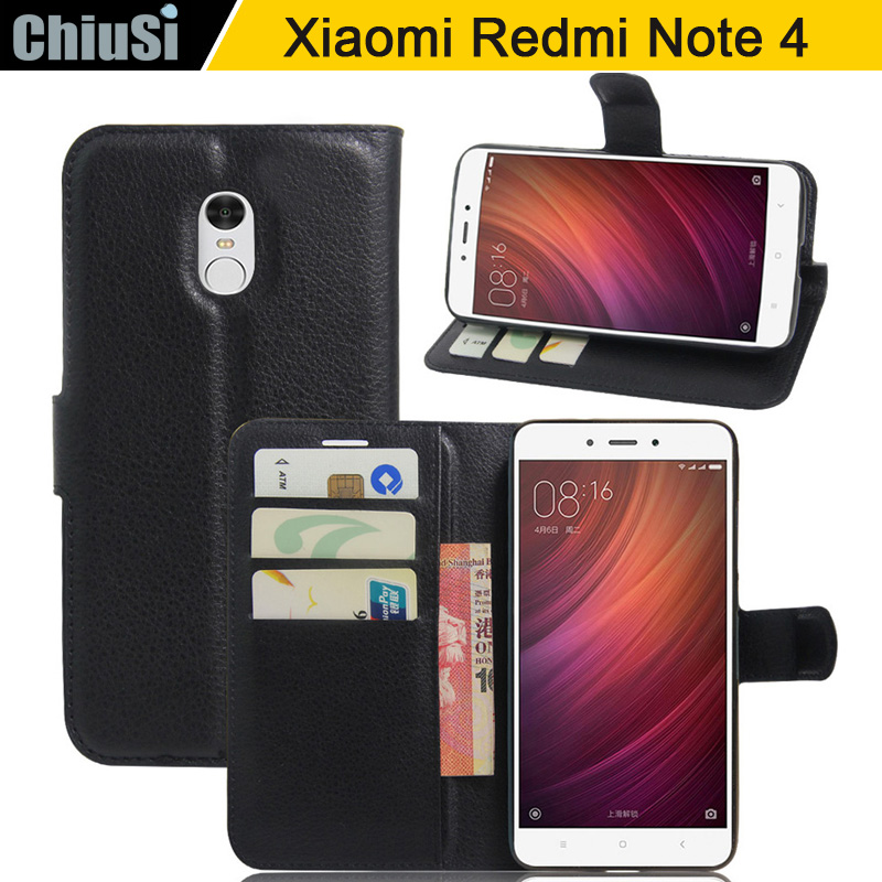Luxury PU Leather Flip Case Cover For <font><b>Redmi</b></font> Note 4 <font><b>Cell</b></font> <font><b>Phone</b></font> Shell Back Cover Card Holder Black For <font><b>Redmi</b></font> Note 4 Pro/<font><b>4X</b></font> Pro