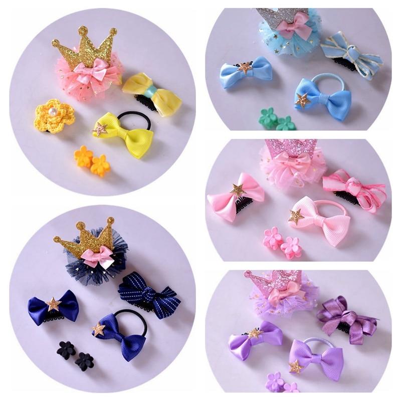 Fashion New Korean Hairpins Girls Baby Bow Set Hair Clip Pink Flower Crown Hair Accessoires Children Headband Princess PU Gift