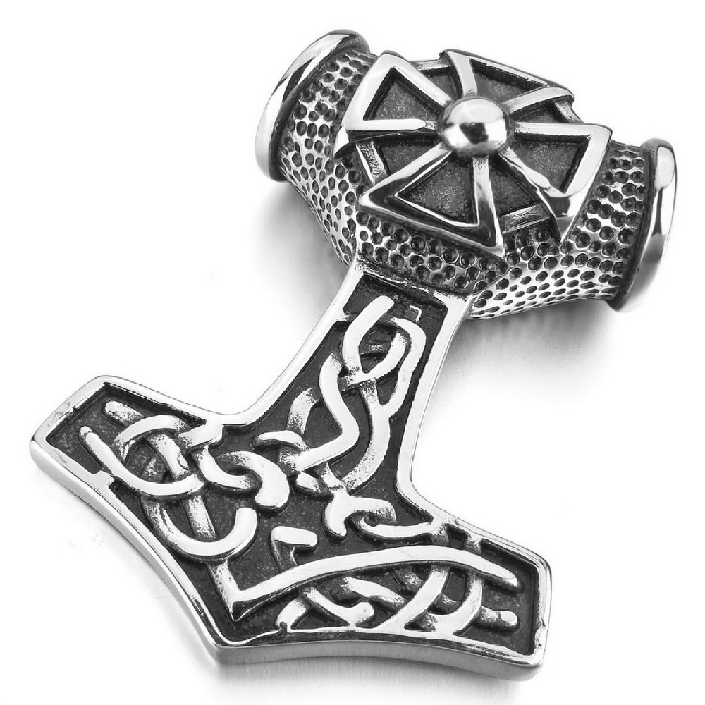 Men S Large Stainless Steel Pendant Silver Thors Hammer Irish Knot Triquetra Cross Amulet Vintage With