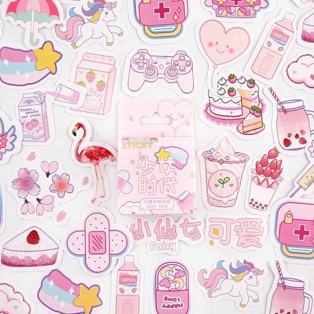 Girlhood Pink Bullet Journal Decorative Stationery Mini Stickers Set Scrapbooking DIY Diary Album Stick Lable Kawaii Stationery