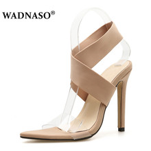 WADNASO New Women Fashion Pointed Toe Open Thin High Heels Sandals Lady Gladiator Bride Red Wedding Party Dress Shoes Eu 35-40