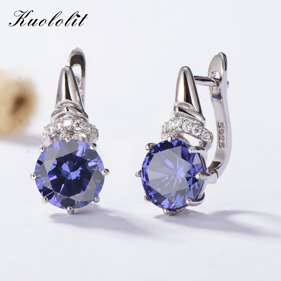 Kuololit Tanzanite Gemstone Clip Earrings for Women  Solid 925 Sterling Silver Engagement Created Gemstone Earrings Fine JewelryKuololit Tanzanite Gemstone Clip Earrings for Women  Solid 925 Sterling Silver Engagement Created Gemstone Earrings Fine Jewelry