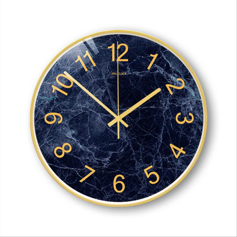 New 3D Wall Clock Abstract Marble Digital Wall Clock Modern Design Luxury 12/14inch Wall Watch For Home Decor Silent Duvar Saati