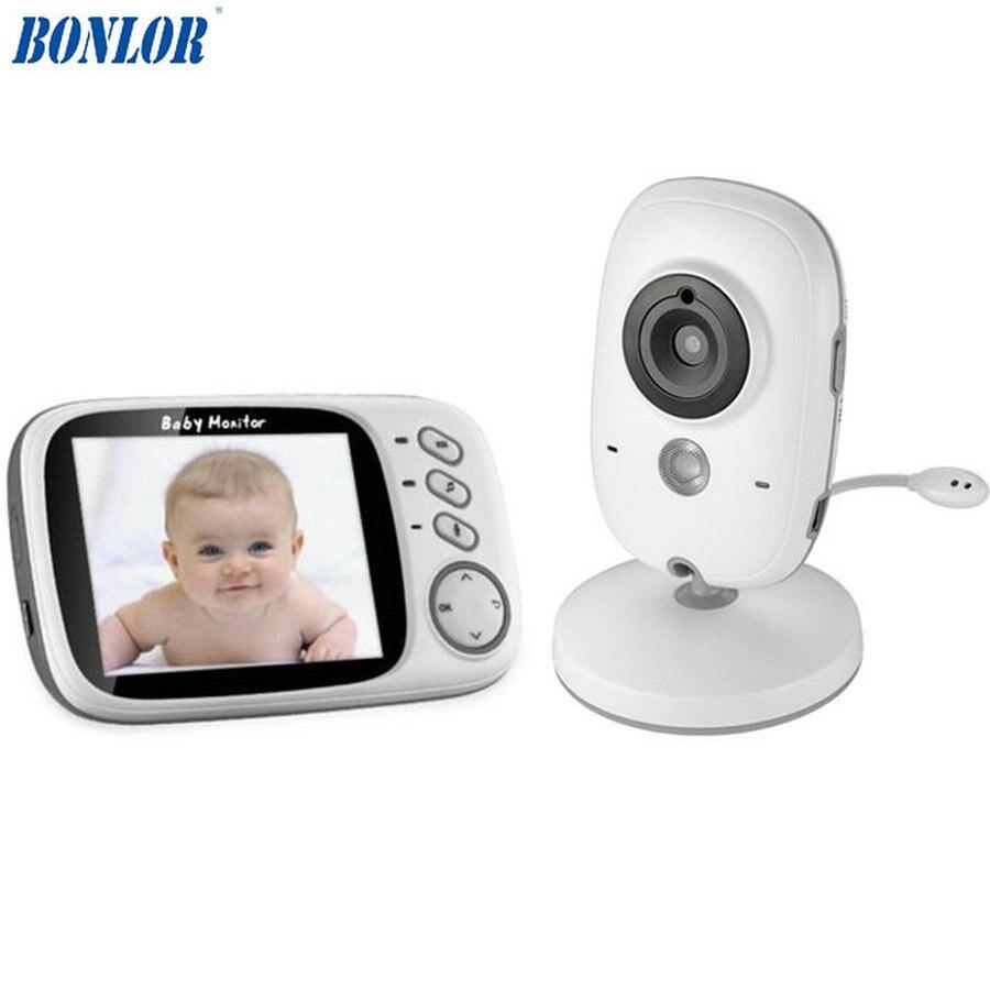 Moniteur de bébé couleur vidéo sans fil BONLOR 3.2 pouces haute résolution caméra de sécurité pour bébé nounou surveillance de la température de Vision nocturne
