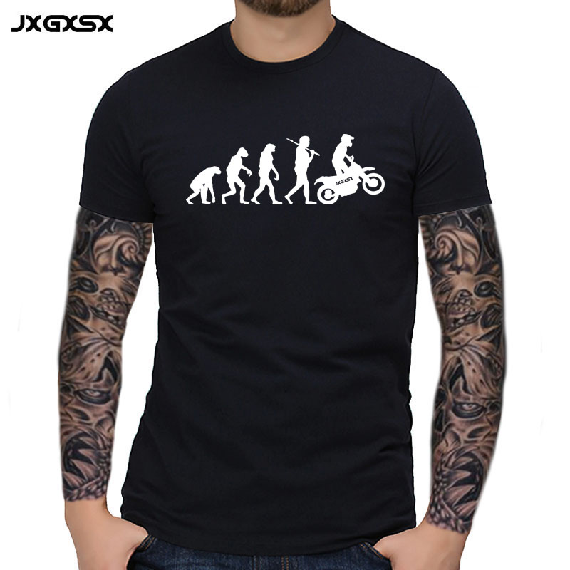 JXGXSX High Quality   T     Shirts   Men MOTORCYCLE APE TO EVOLUTION   T     Shirt   2018 Summer Short Sleeve O-Neck Cotton Homme   T  -  shirt   Tee