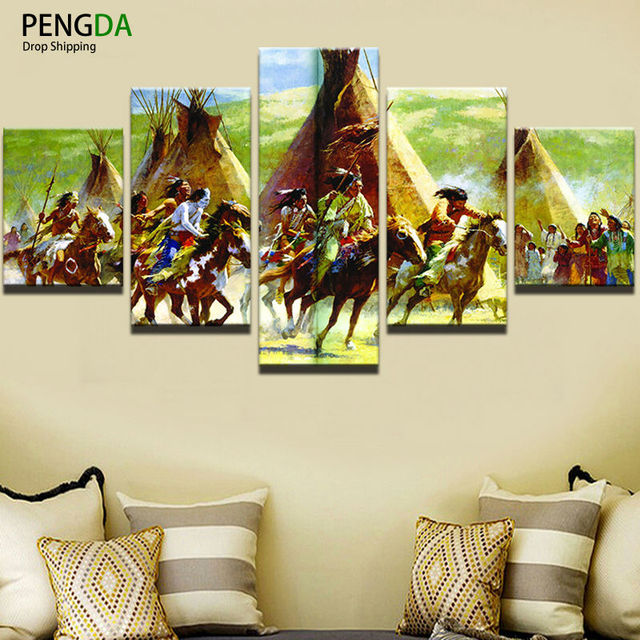 Wall Art Canvas Painting Style Modular Pictures For Living Room 5 Piece Native Americans Cuadros
