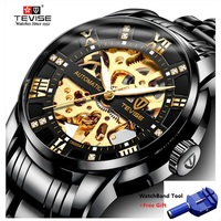 TEVISE Number Sport Design Mechanical Watches Waterproof Mens Watches Top Brand Luxury Male Clock Men Automatic Skeleton Watch