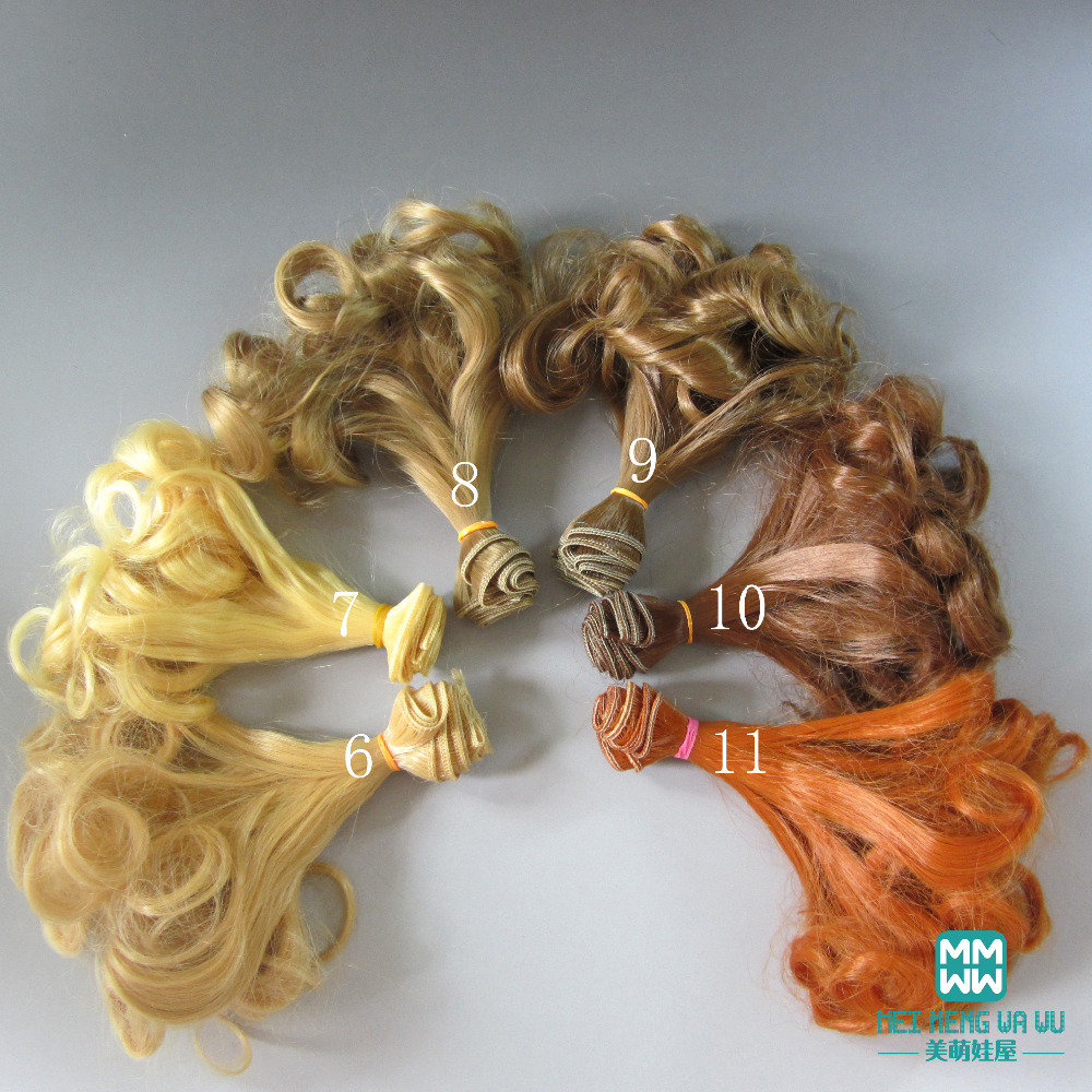 1pcs 15cm&25cm*100cm wigs Light golden \ brown and other colors Hair for dolls BJD/SD Doll 1pcs 15cm 25cm bjd wigs high temperature wire straight hair piece for bjd sd dollfie