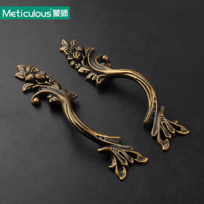 Meticulous Antique Bronze Handles drawer knobs Kitchen Cabinet shabby chic Knob Vintage Furniture Handle Cupboard pulls 6pcs