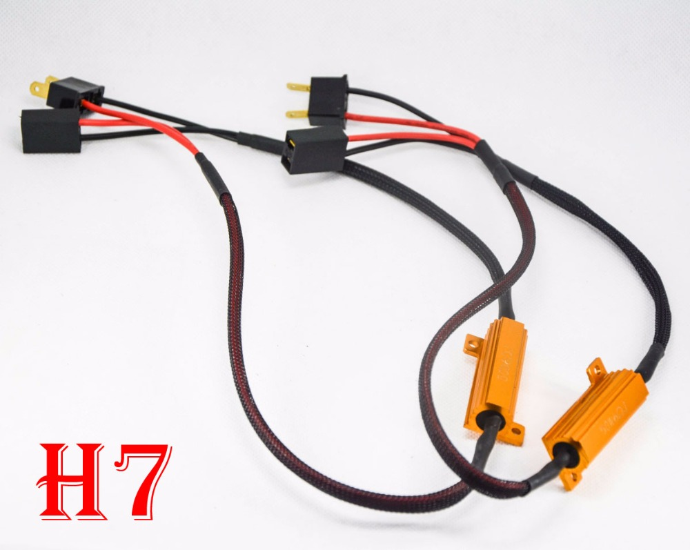 2PCS 50W 6ohm Gold Fuse <font><b>LED</b></font> Headlight <font><b>Canbus</b></font> Error Canceler H1 H7 H8 <font><b>H9</b></font> H11 9005 9006 <font><b>LED</b></font> Decoder Load Resistor Anti-Hyper Flash image