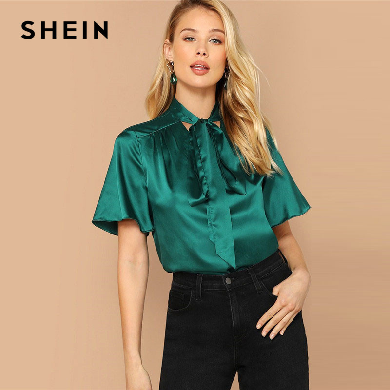 Blouses & Shirts Anself Women Satin Blouse Solid Waist Tied Bow Bandage Round Neck Blusas Mujer De Moda 2019 Three Quarter Sleeve Elegant Tops