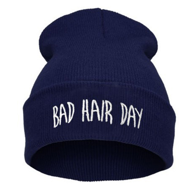 BONJEAN Winter Bad Hair Day letter beanie women men beanies hat knitted skullies hip hop hat bonnet casquette gorros de lana 2016 winter women beanie adults hip hop hats diamond vogue men hats knitted ski skullies bonnet crochet casquette gorros de lana