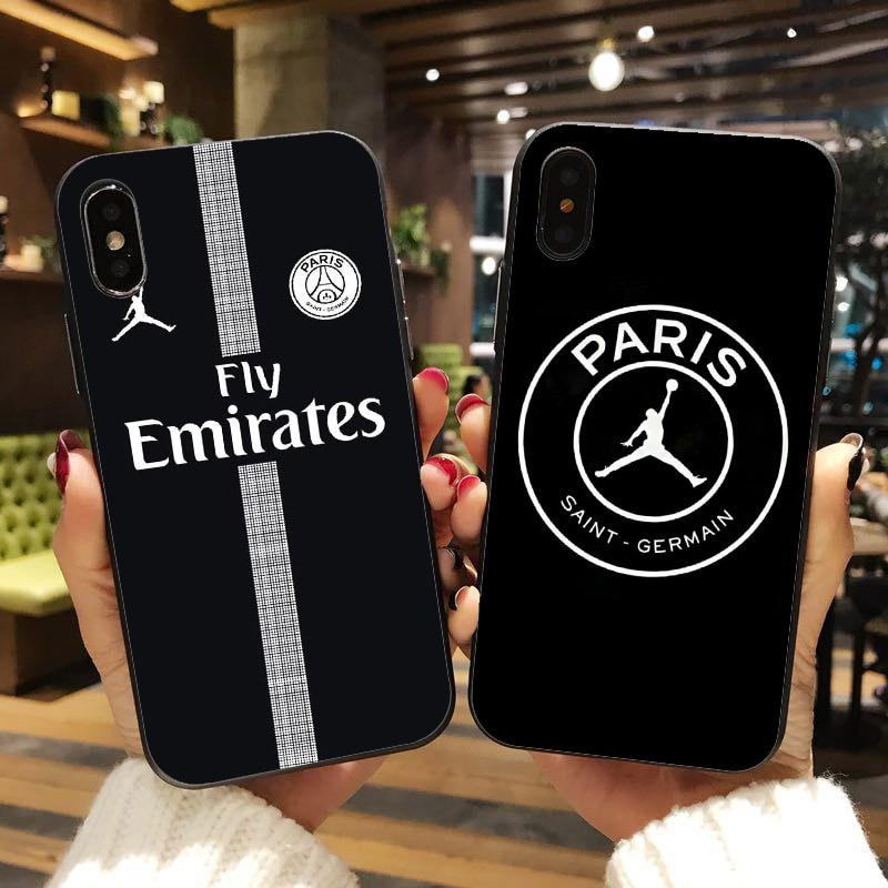 7ba24ecab46 Fly Paris Football Jersey Jordan 23 Sport Print black Soft silicone TPU  Phone Case For iPhone X 10 XS Max XR 6 6S 7 8 Plus