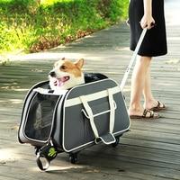Регулируемый рычаг ПЭТ коляска собака кошка дышащая Оксфорд сумка с Mute Универсальный колёса портативный тележка случае 14 кг подшипник