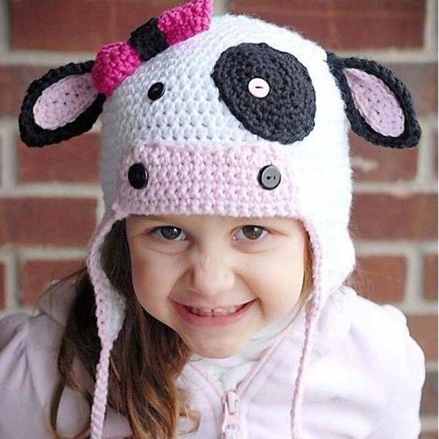 66c4d9d40fe Handmade Crochet Baby Cow Ears Hat Children Winter Hat Photography Prop  Baby Hat Infant Animal Cap H146