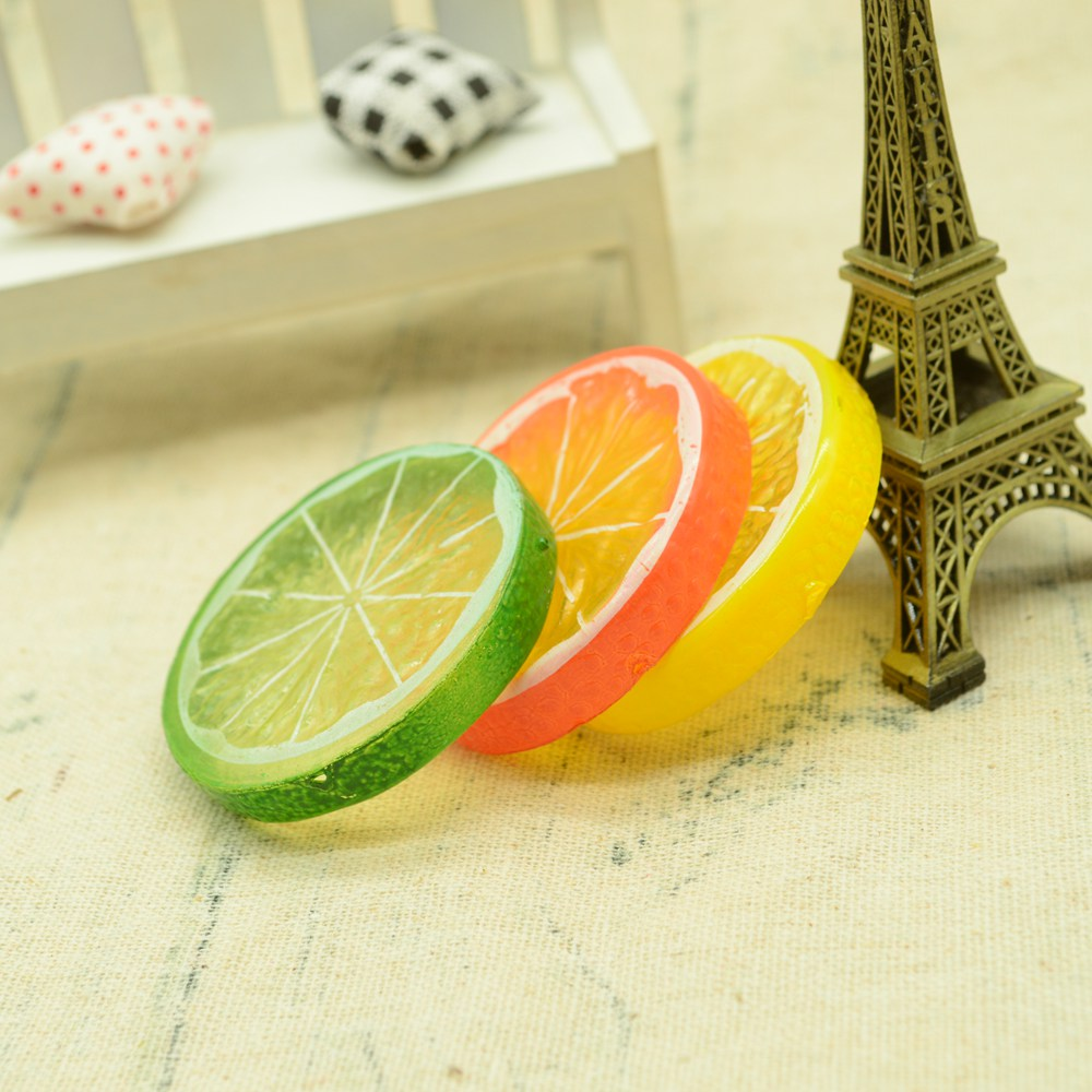 5pcs Mini Fake Plastic Lemon Slices Artificial Fruits Foam Model Party Kitchen Wedding Decoration Diy Scrapbooking Kids Toys