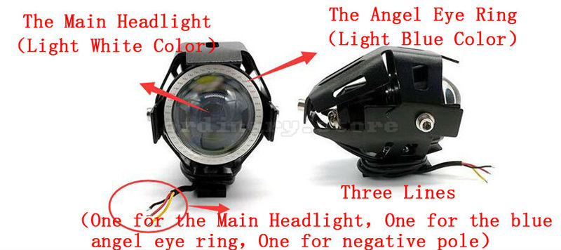 Motorcycle LED Headlight Driving Fog Light U7 125W 3000LM Blue Angel Eyes DRL Electric Moto Spot Safety Lamp + Switch