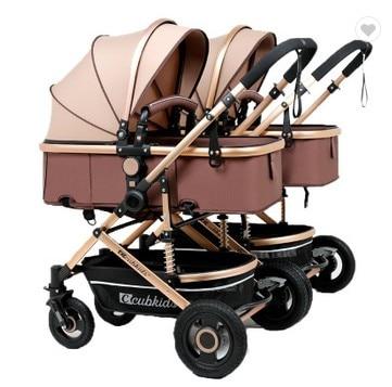 3-In-1 Lightweight Cool Pram 4 Wheel Foldable Kids Twin Newborn Baby Stroller Doll Double Pushchair