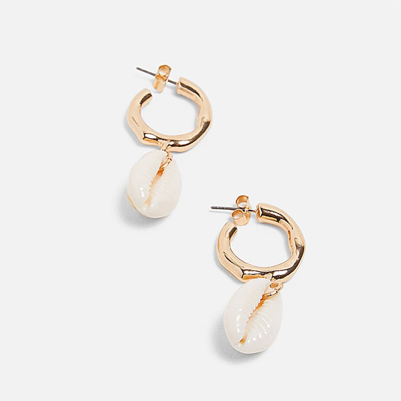 AENSOA Elegant Shell Alloy Drop Earrings ZA Cute Chic Statement Dangle Earrings for Women Wedding Party Gifts Irregular Jewelry 5