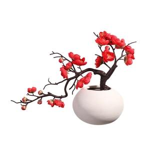 Image 5 - Erxiaobao الوردي الأبيض الأحمر Wintersweet زهر البرقوق الزهور الاصطناعية وهمية الكرز الحرير النباتات حفلة ديكور منزلي للزفاف