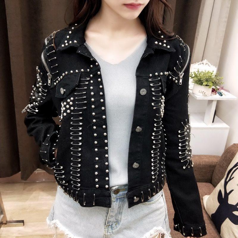 Rosetic Gothic Rivet Pins Women Denim Jacket Chic Streetwear Turn Down Collar Casual Black Short Jeans Jackets Coat