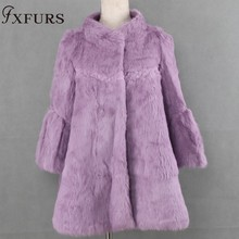 FXFURS 2017 New autumn and winter natural rex rabbit fur coats women stand collar long real fur coat outerwear plus size