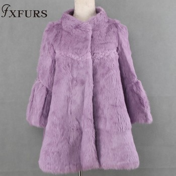 FXFURS 2019 New Autumn and Winter Natural Rabbit Fur Coats Women Real Fur Jackets Outerwear Plus Size Full Pelt Genuine Fur Coat