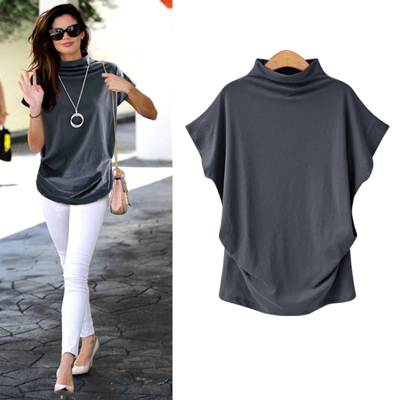 Plus Size 6XL Women Summer T-Shirt Short Batwing Sleeve Loose Solid Gray Turtleneck Tee Shirt 2019 New T-Shirts Femme Tees Tops