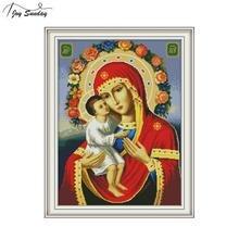 Joy Sunday Religious Figure Embroidery Cross Stitch Kit Printed Canvas DMC Counted Aida Fabric Crossstitch Needlework Home Decor