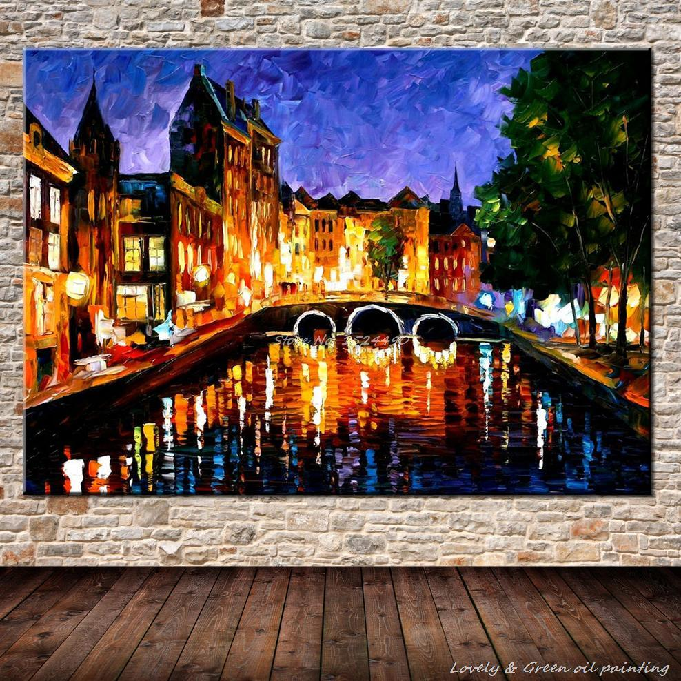 Wall art 100 x 70 - 100 Hand Painted Urban River Landscape Palette Knife Oil Painting On Canvas Wall Art