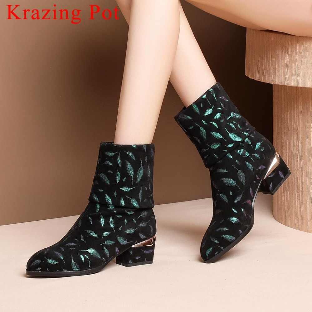 Krazing Pot üzerinde kayma Yapraklar tahıl med topuklar orta buzağı çizmeler yüksek kaliteli olgun kadın rahat sivri burun streç çizmeler L05