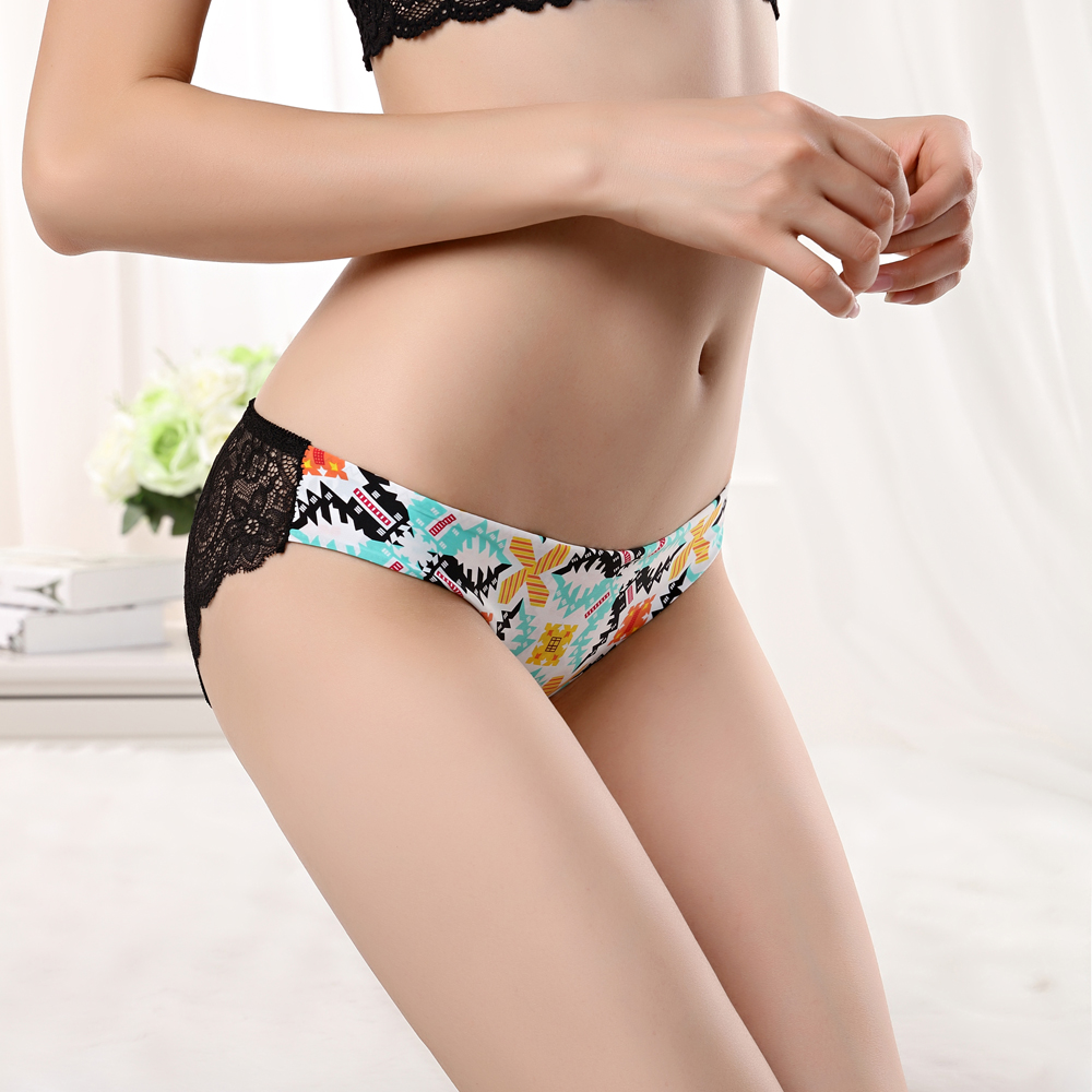 Buy Fashion Women Underwear Panties Sexy Lace Transparent Low Waist Ice Silk Printing Seamless Lady Briefs Cotton Crotch SYH981 XXL