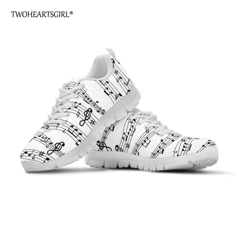 Twoheartsgirl Women Flat Shoes White Music Notes Sneakers for Women Breathable Female Ladies Summer Mesh Shoes Flats Plus Size plus size music notes rainbow print hoodie